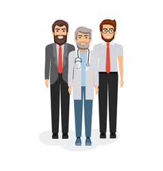 White background with manager and doctors vector