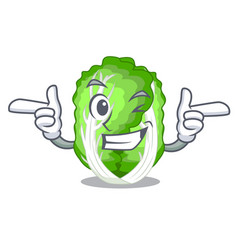 Wink character chinese cabbage in wooden bowl vector