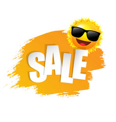 yellow paint with sun and sunglasses vector image