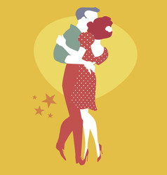 Young couple dancing retro style cheek to cheek vector