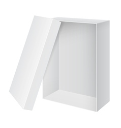 Cool Realistic White blank Package Box Opened with vector image vector image