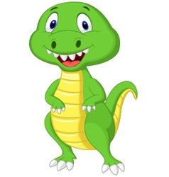 Cute green dinosaur cartoon vector image vector image