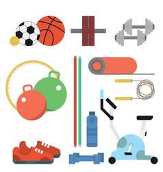 fitness sport flat set vector image