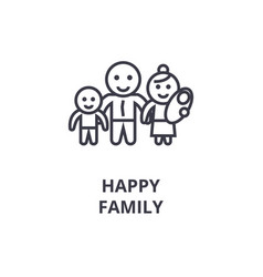 happy family line icon outline sign linear vector image
