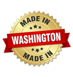 made in Washington gold badge with red ribbon vector image vector image