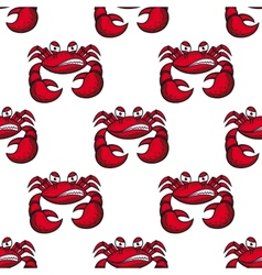 Seamless pattern of angry red crab vector image vector image
