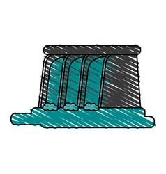 waterfall cartoon doodle vector image