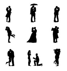 Black Silhouette Couples In Love vector image vector image