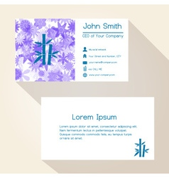 blue floral and bamboo business card design eps10 vector image vector image