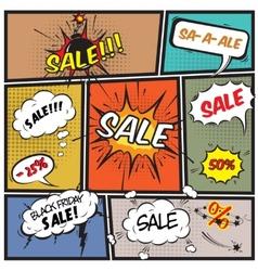 Comic best offer sale promotion bubbles vector image vector image