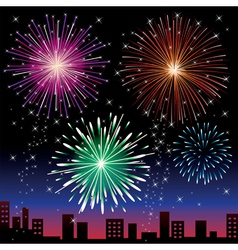Fireworks on the night city vector image vector image