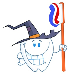 Happy Smiling Halloween Tooth With Toothbrush vector image vector image