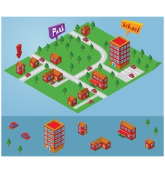 isometric small map vector image