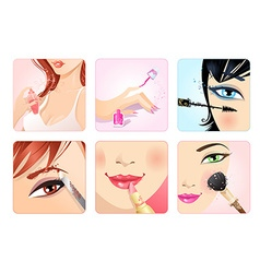 set of make-up square icons vector image vector image