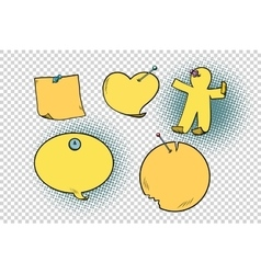 set of yellow stickers in different shapes vector image vector image