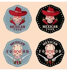 skull in a Mexican sombrero with chili vector image vector image