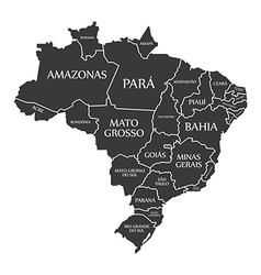 Brazil map with labels black vector image vector image