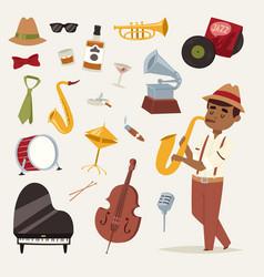 fashion jazz band music party symbols art vector image vector image