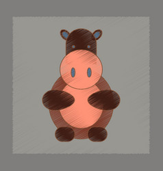 Flat shading style icon kids hippo vector