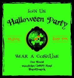 Halloween invitation cameo skull and crossbones vector image