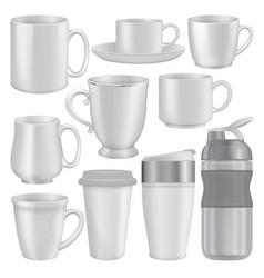 mug cup mockup set realistic style vector image