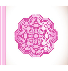 Ornamental round lace pink flower vector