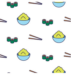 sushi line icon seamless pattern vector image vector image