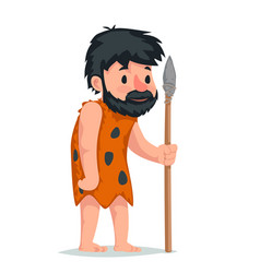 ancient caveman with stone spear character icon vector image vector image