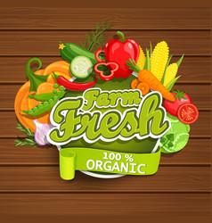 farm fresh vegetables label vector image