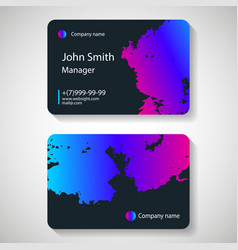 stylish dark business card template vector image vector image