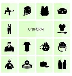 14 uniform icons vector