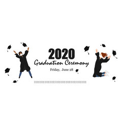 2020 graduation ceremony banner young graduate vector
