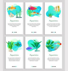 Aquaristics fish and seaweed tropical animals vector