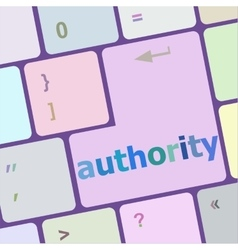 Autority button on computer keyboard key vector