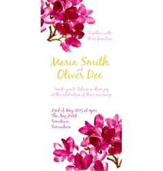 Background with red watercolor magnolia vector image