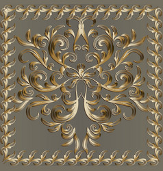 Baroque gold 3d panel pattern with floral frame vector