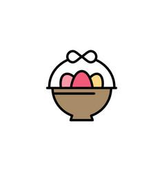 basket egg easter business logo template flat vector image