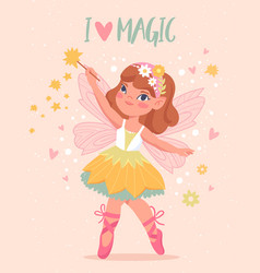 Beautiful fairy with wings vector