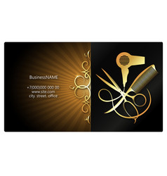 Beauty salon and hairdresser gold ornament tool vector