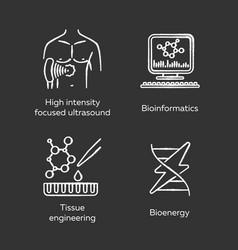 Biotechnology chalk icons set bioengineering hifu vector