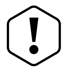 black sexangle exclamation mark icon warning sign vector image
