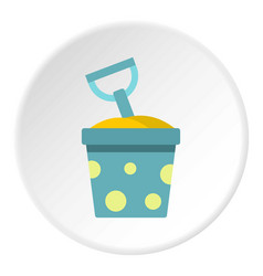Blue bucket of sand and shovel icon circle vector