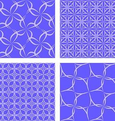 Blue seamless pattern background set vector