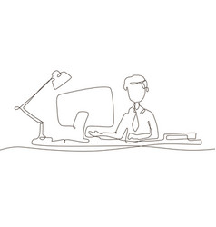 boy at the computer - one line design style vector image