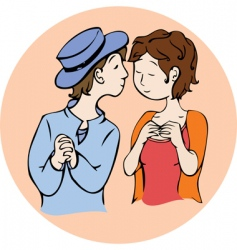 Boy kisses girl vector