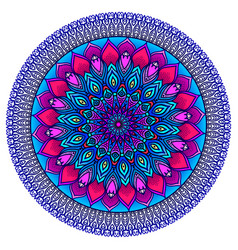 brightly highly detailed mandala in purple-blue vector image