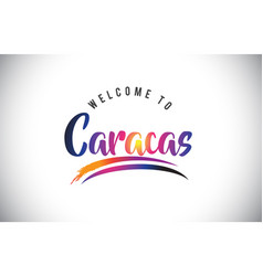 Caracas welcome to message in purple vibrant vector