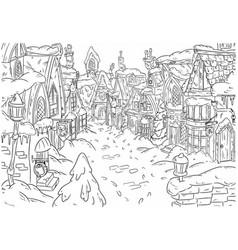 cartoon drawing of a beautiful magical christmas vector image