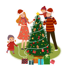 cartoon family decorating christmas tree vector image