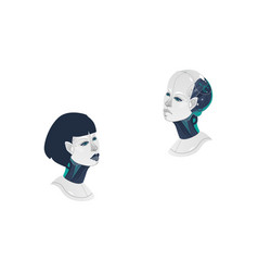 cartoon man woman cyborg heads icon vector image